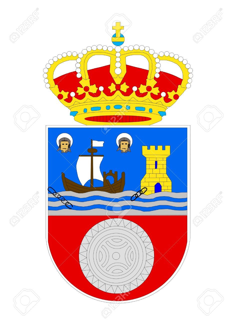 Spanish Province Of Cantabria Coat Of Arms; Isolated On White.
