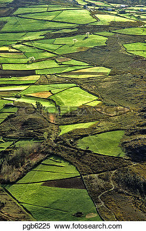 Stock Image of Spain. Asturias. Cantabria. Field patterns in.