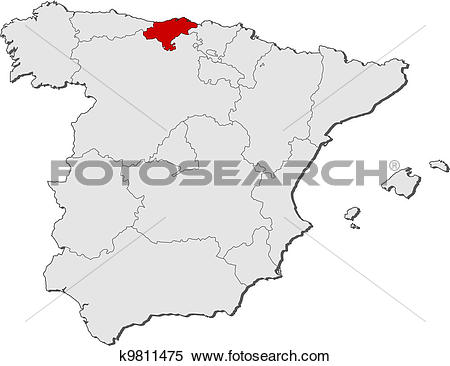 Clipart of Map of Spain, Cantabria highlighted k9811475.