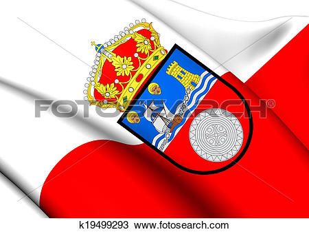 Drawing of Flag of Cantabria, Spain. k19499293.
