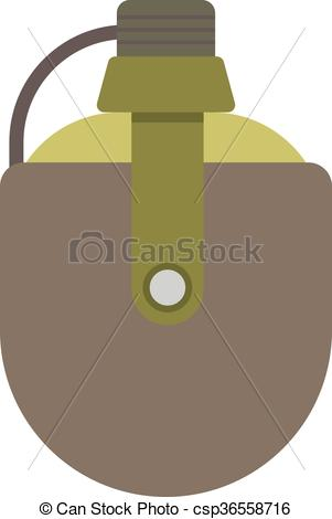 Vector Clip Art of Vector illustration of two military canteens or.