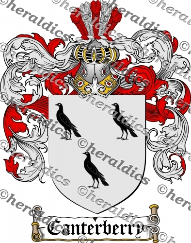 Canterberry Coat of Arms Canterberry Family Crest Instant Download.