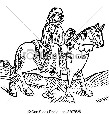 Stock Illustration of The Prioress from Canterbury Tales.