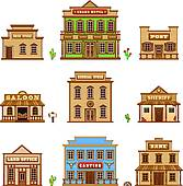 Clip Art of Wild West cantina building k21895687.