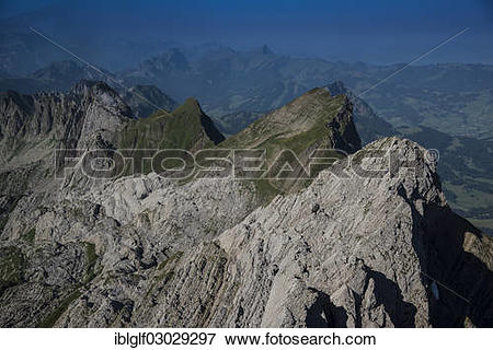 "Picture of ""Kurfuersten Range seen from Saentis Mountain, Canton."