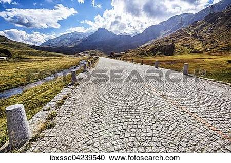 Stock Photography of Tremola, Gotthard pass road, Canton of Uri.