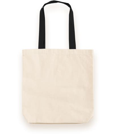 Midweight Contrast Handles Cotton Canvas Tote Bag.