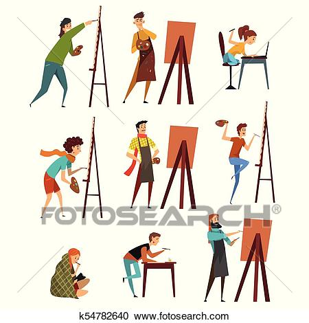 Artists painting on canvas set, painter characters vector Illustrations  Clipart.