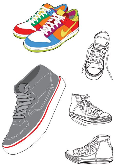 Sports shoes and canvas shoes, Vector Files.