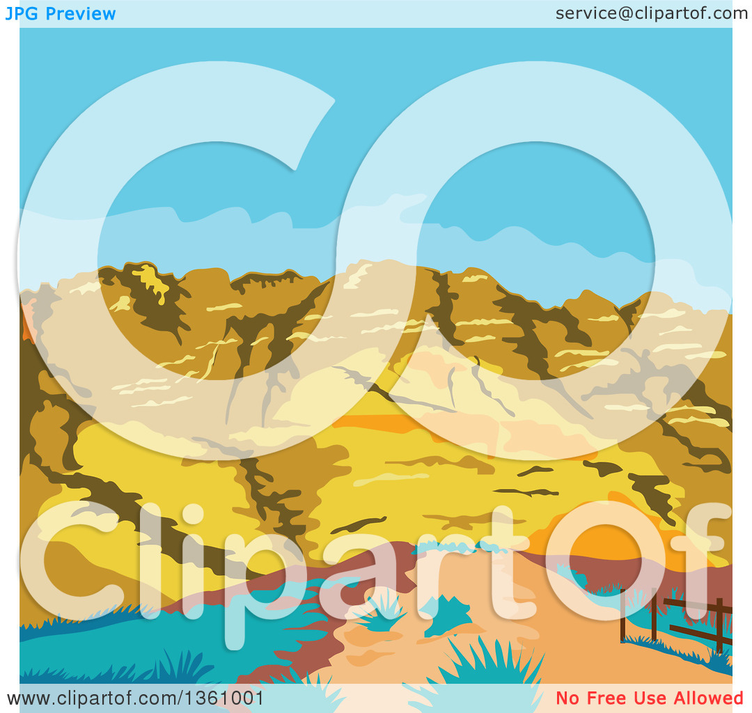 Clipart of a Retro Wpa Styled Landscape of Red Rock Canyon, Mojave.
