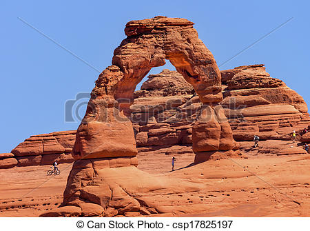 Stock Photographs of Delicate Arch Bicycle Red Orange Rock Canyon.