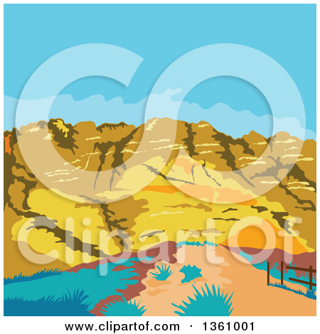 Clipart Illustration of Pink Light Upon The Grand Canyon National.