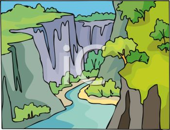 Picture of a River Running Through a Canyon In a Vector Clip Art.