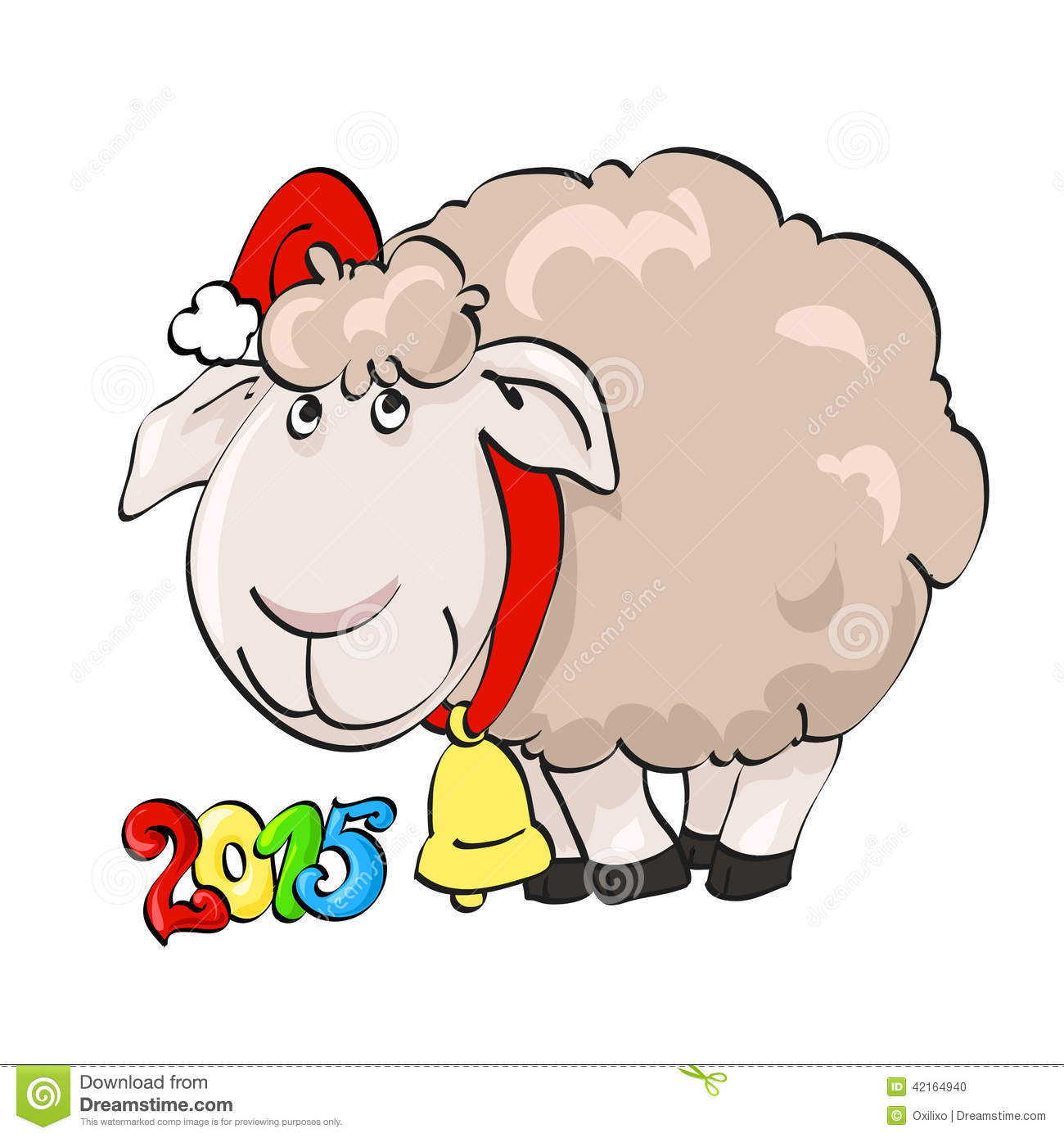Lovely Lamb In Santa's Cap With Bell Stock Vector.