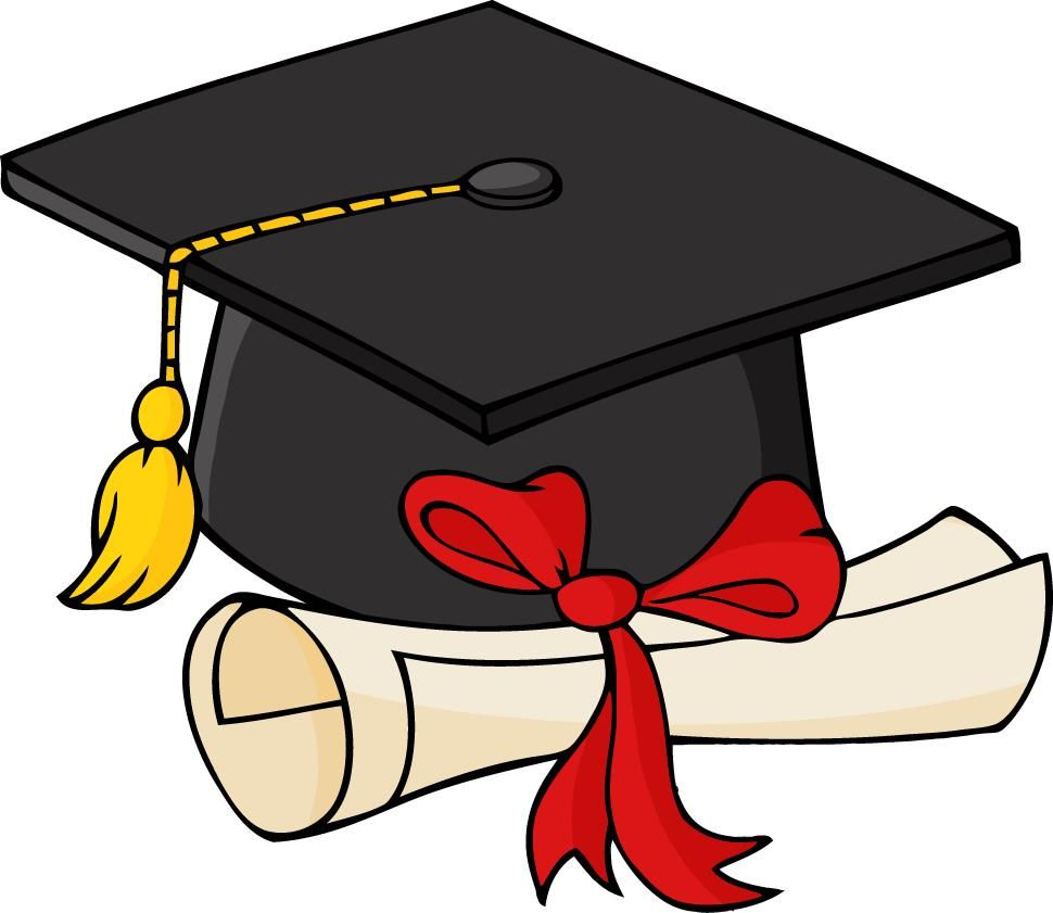 Graduation cap and gown clipart 2.