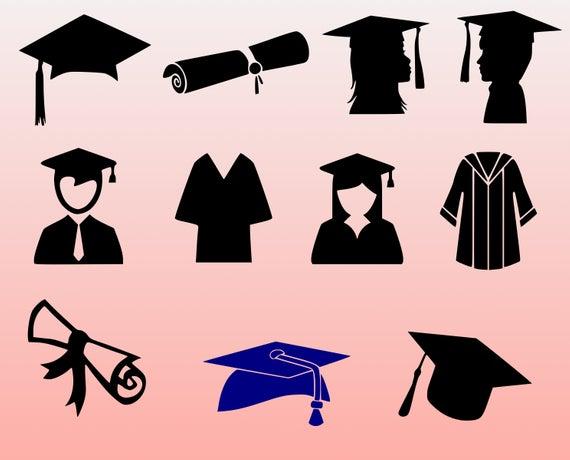 Graduation 2019 SVG Bundle, Graduation Cut Files,dxf, png,eps, svg, cap and  gown clipart, graduation cap, graduation gown, Senior 2019 svg.