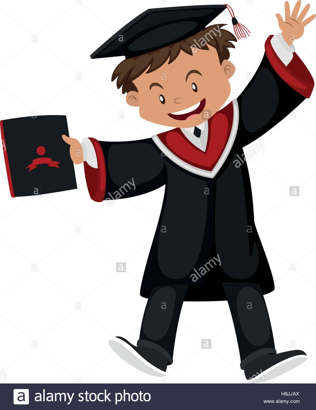 Man in black graduation gown with cap illustration Stock Vector Art.
