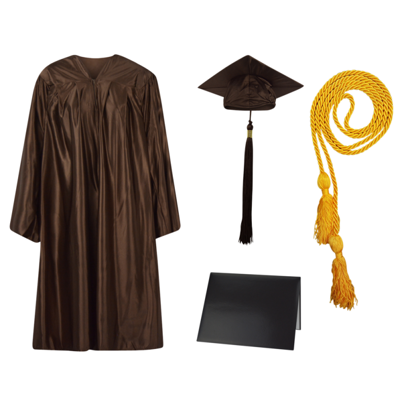 Cap, Gown and Tassel and Honor Cord and Diploma Cover Set : Shiny Finish.