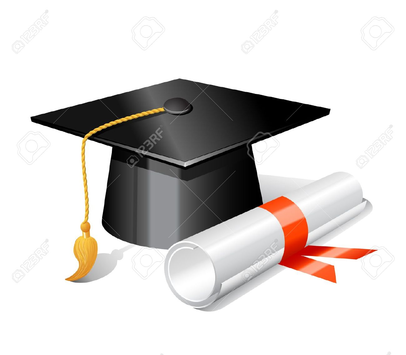 Clipart of graduation cap and scroll clipartfest.