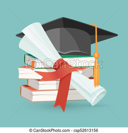 Degree scroll, pile of books and black graduation cap.