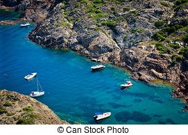 Stock Images of Boats at Cap de Creus, Gerona. Costa Brava. Spain.