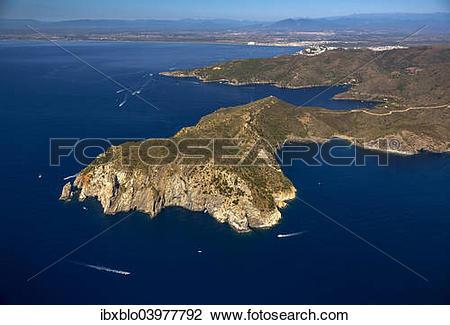"""Stock Photo of """"Aerial view, Parc Natural Cap de Creus, Cadaques."""