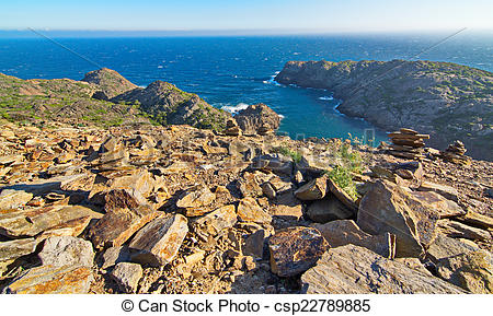 Pictures of Cape of Cap de Creus peninsula, Catalonia, Spain.