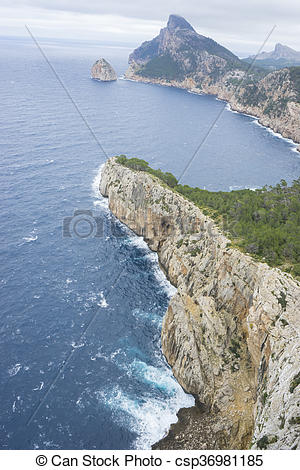 Pictures of rocks, views of Cape formentor in the tourist region.