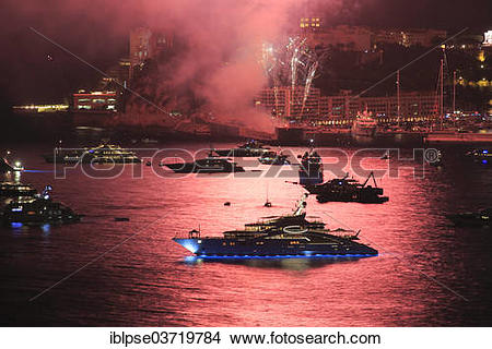 "Stock Photo of ""Fireworks over Monaco at Cap Martin, with the."