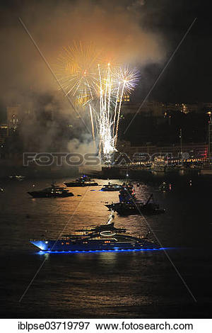 """Picture of """"Fireworks over Monaco at Cap Martin, with the motor."""