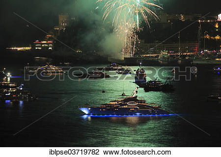 """Stock Photo of """"Fireworks over Monaco at Cap Martin, with the."""