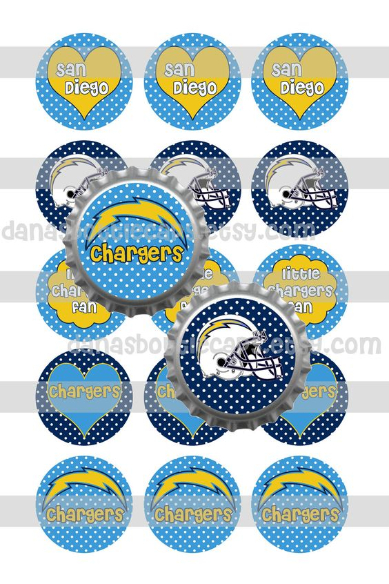San Diego Chargers Football Inspired Bottle Cap Images. $2.00, via.