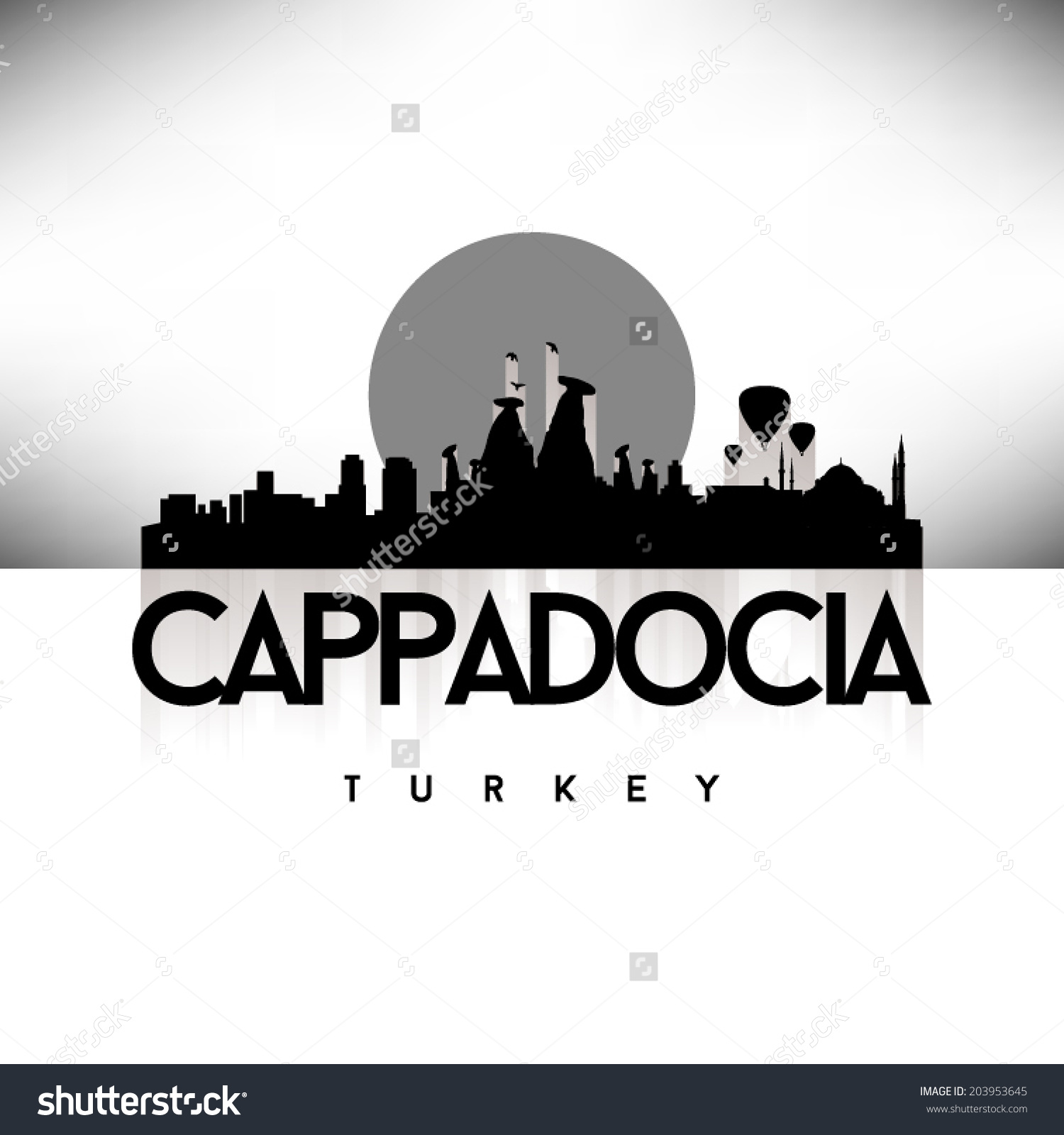 Cappadocia Turkey Skyline Silhouette Black White Stock Vector.