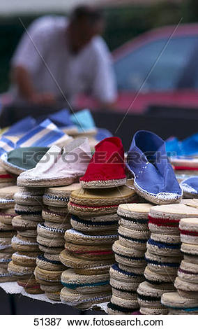 Picture of Stack of shoes at market stall, Capbreton, France 51387.