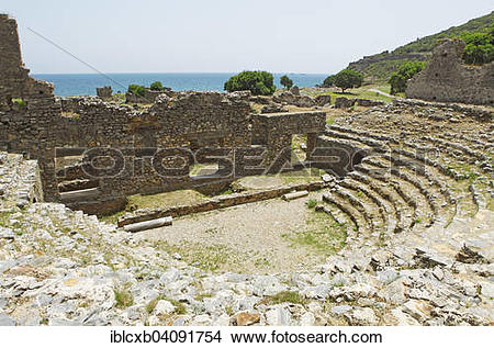 Stock Photo of Odeon, ancient city of Anemurion, Anamur, Mersin.