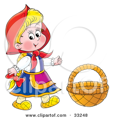 Clipart Illustration of Little Red Riding Hood Wearing Her Cape.