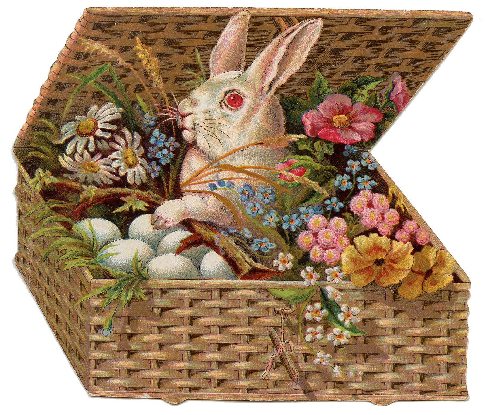 Vintage Easter Clip Art of Bunny in Basket.