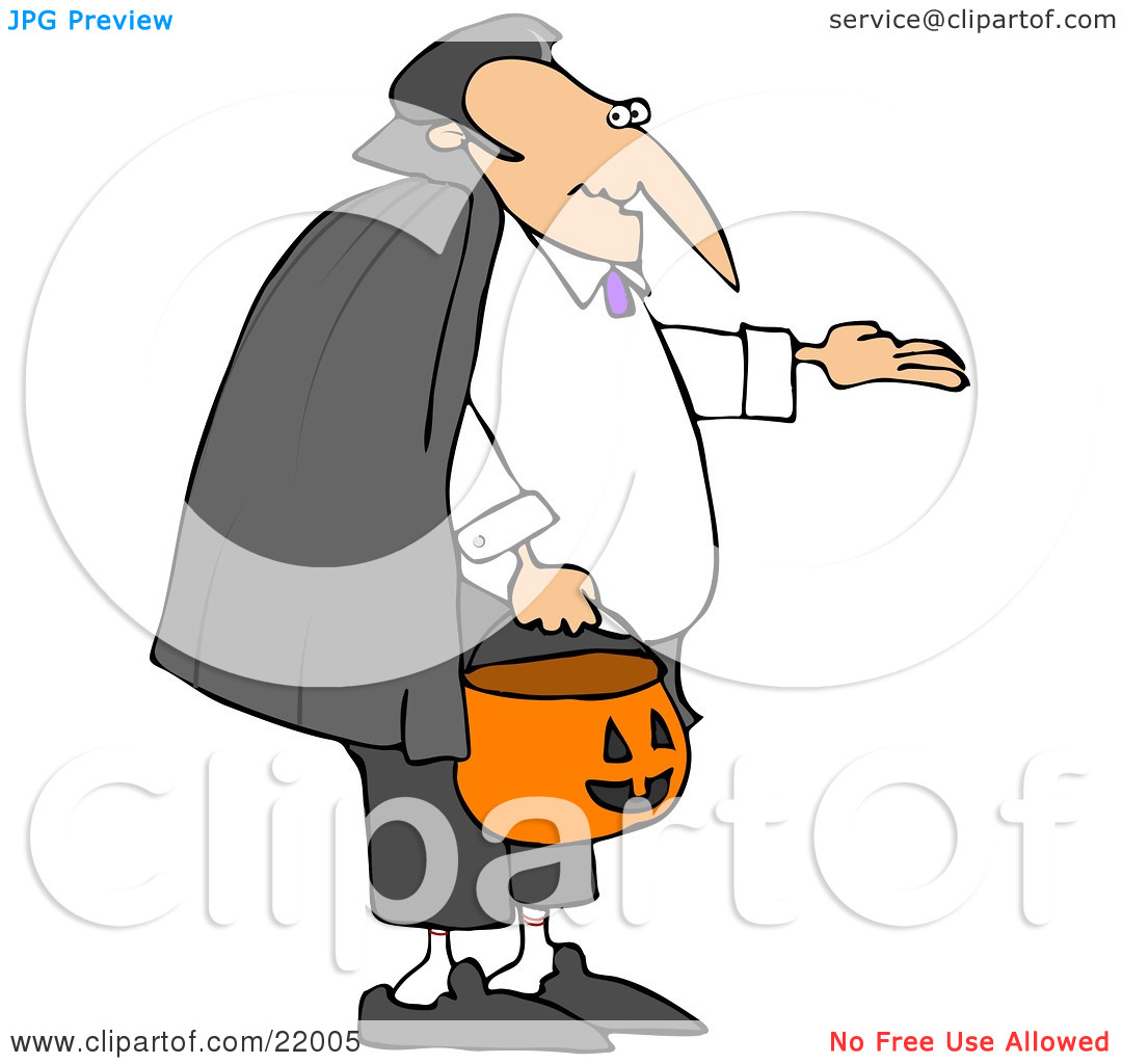 Clipart Illustration of Vampire Count Dracula In A Black Cape.