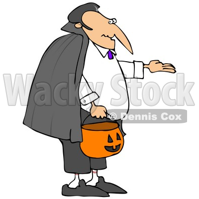 Illustration of Vampire Count Dracula In A Black Cape, Trick Or.