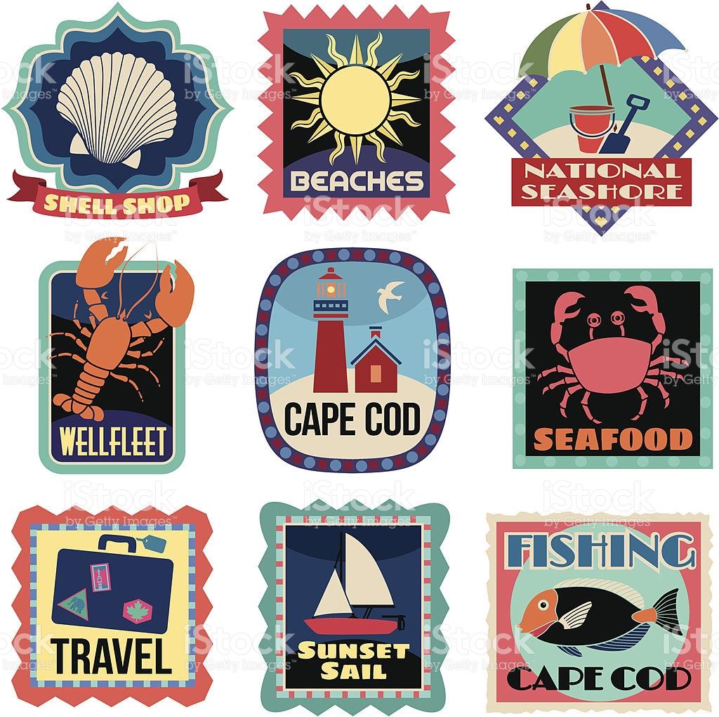 Travel Stickers Cape Cod stock vector art 165968485.