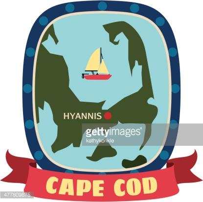 Travel Stickers Cape Cod Vector Art.