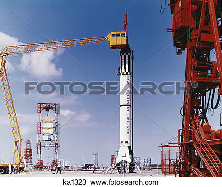Stock Photo of 1960s preparing gemini rocket for launch cape.
