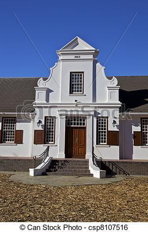 Stock Image of Cape Dutch Architectural in Franschhoek, famous.