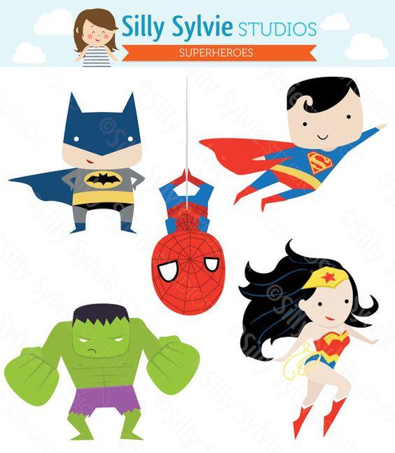 Superheroes Clip Art.