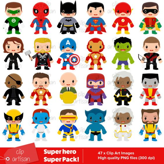 Superhero Super Pack / Superhero Clip Art / Super Kids 1 + 2 + 3.
