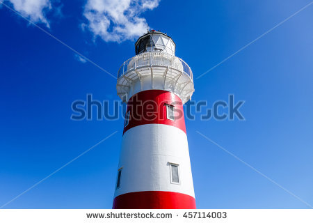 At Classic Lighthouse Red Stock Images, Royalty.