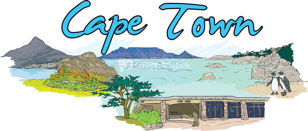 Cape Town Vector Doodle.