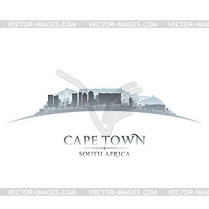 Cape Town South Africa city skyline silhouette whit.
