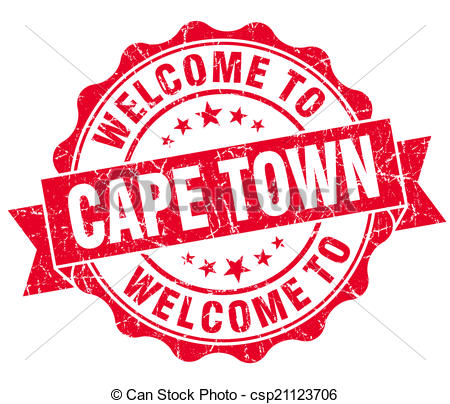 Stock Illustration of welcome to Cape Town red vintage isolated.