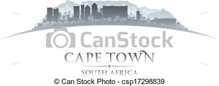 Vectors of Cape Town South Africa city skyline silhouette. Vector.